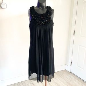 ECI Sleeveless Beaded Black Midi Cocktail Dress